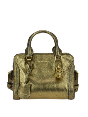 Alexander Mcqueen: bowling bags - Skull padlock crackle leather bag
