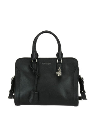 Alexander Mcqueen: bowling bags - Skull padlock leather bag