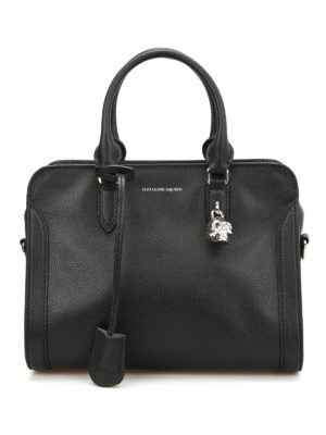 Alexander Mcqueen: bowling bags - Small Padlock leather bowling bag