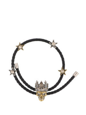 Alexander Mcqueen: Bracelets & Bangles - Black leather and crystal bracelet