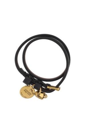 Alexander Mcqueen: Bracelets & Bangles - Black leather Skull bracelet