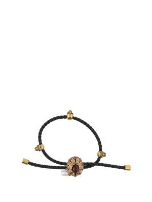 Alexander Mcqueen: Bracelets & Bangles - Braided nappa jewel bracelet