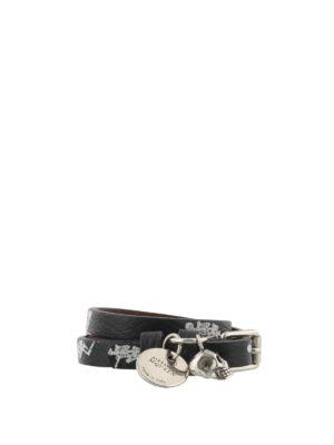 Alexander Mcqueen: Bracelets & Bangles - Dancing Skeleton leather bracelet