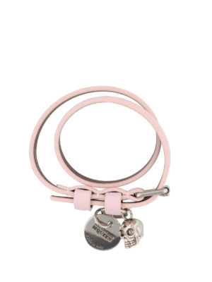 Alexander Mcqueen: Bracelets & Bangles - Double wrap leather Skull bracelet