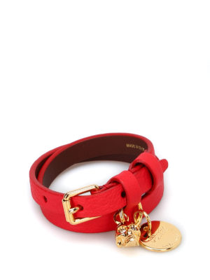 Alexander Mcqueen: Bracelets & Bangles - Double wrap red leather bracelet
