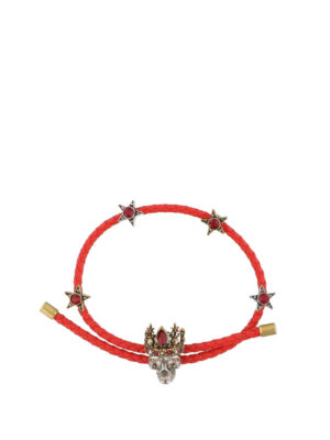 Alexander Mcqueen: Bracelets & Bangles - Leather bracelet with crystals