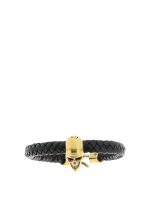 Alexander Mcqueen: Bracelets & Bangles - Leather bracelet with skull