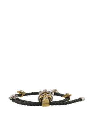 Alexander Mcqueen: Bracelets & Bangles online - Black leather and crystal bracelet