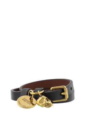 Alexander Mcqueen: Bracelets & Bangles online - Black leather Skull bracelet