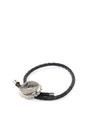 Alexander Mcqueen: Bracelets & Bangles online - Carved bottle cup leather bracelet