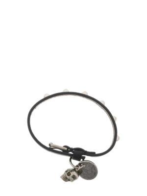 Alexander Mcqueen: Bracelets & Bangles online - Double wrap black leather bracelet