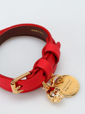 Alexander Mcqueen: Bracelets & Bangles online - Double wrap red leather bracelet