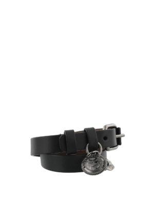 Alexander Mcqueen: Bracelets & Bangles online - Skull charm leather bracelet