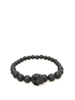 Alexander Mcqueen: Bracelets & Bangles - Onyx pearl Skull bracelet