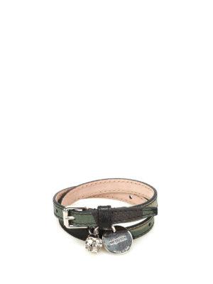 Alexander Mcqueen: Bracelets & Bangles - Skull charm double wrap bracelet