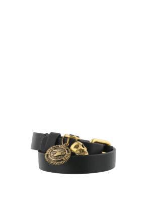 Alexander Mcqueen: Bracelets & Bangles - Skull charm leather double bracelet
