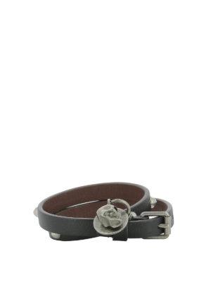 Alexander Mcqueen: Bracelets & Bangles - Skull detail double wrap bracelet