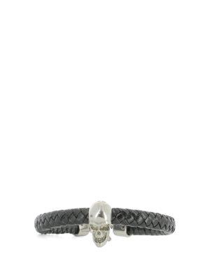 Alexander Mcqueen: Bracelets & Bangles - Skull embellished leather bracelet