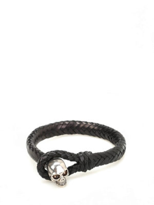 Alexander Mcqueen: Bracelets & Bangles - Skull leather bracelet