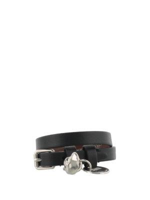 Alexander Mcqueen: Bracelets & Bangles - Skull leather double bracelet