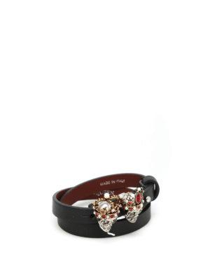 Alexander Mcqueen: Bracelets & Bangles - Twin Swarovski Skull bracelet