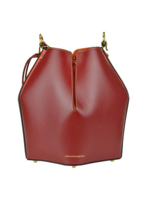 ALEXANDER MCQUEEN: Secchielli - Bauletto Bucket Bag in pelle colour block