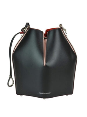 ALEXANDER MCQUEEN: Secchielli - Bauletto Bucket Bag in pelle color block