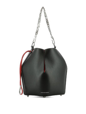 ALEXANDER MCQUEEN: Secchielli - Borsa in pelle nera e rossa The Bucket Bag