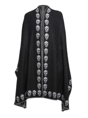 Alexander Mcqueen: Capes &  Ponchos - Double cashmere Skull poncho