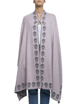 Alexander Mcqueen: Capes &  Ponchos online - Double cashmere Skull poncho