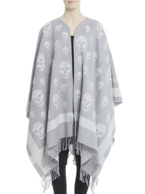 Alexander Mcqueen: Capes &  Ponchos online - Skull detailed wool jacquard pocho