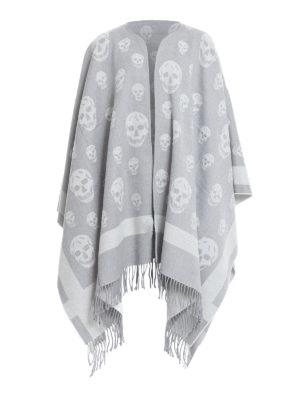 Alexander Mcqueen: Capes &  Ponchos - Skull detailed wool jacquard pocho