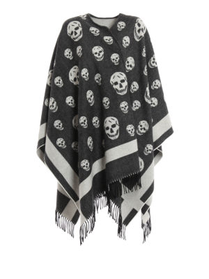 Alexander Mcqueen: Capes &  Ponchos - Skull pattern wool cape