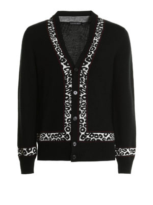 Alexander Mcqueen: cardigans - Leopard-skin detail cardigan