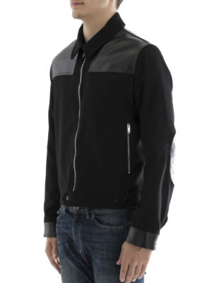 Alexander Mcqueen: casual jackets online - Cashmere and leather crop jacket