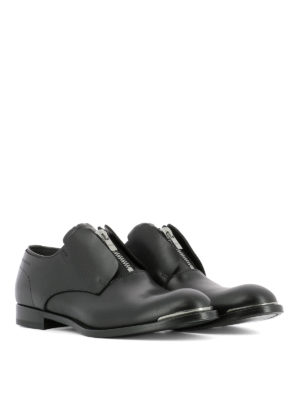 Alexander Mcqueen: classic shoes online - Zip detail leather Derby shoes