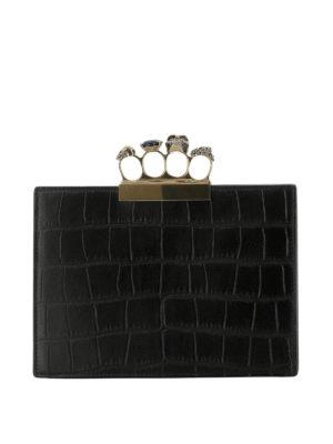ALEXANDER MCQUEEN: pochette - Clutch gioiello stampa cocco con 4 anelli