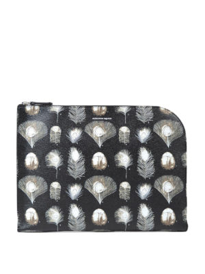 Alexander Mcqueen: clutches - Feather print leather clutch