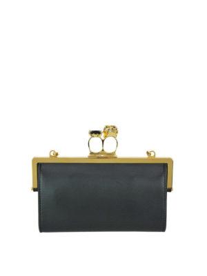 ALEXANDER MCQUEEN: pochette - Clutch in pelle nera con anello Skull oro