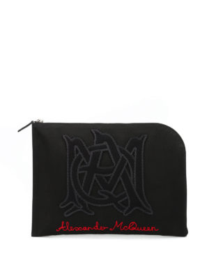 Alexander Mcqueen: clutches - Half zip embroidered pouch