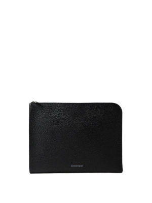 Alexander Mcqueen: clutches - Half-zip hammered leather pouch