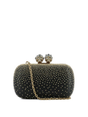 Alexander Mcqueen: clutches - Leather clutch with gold-tone studs