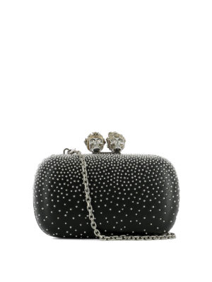 Alexander Mcqueen: clutches - Leather clutch with silver studs