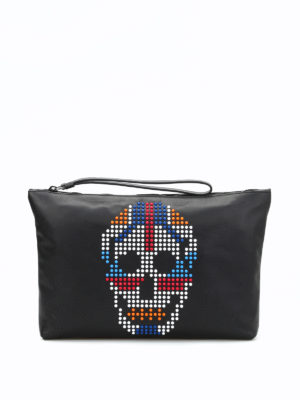Alexander Mcqueen: clutches - Multicolour skull leather pouch