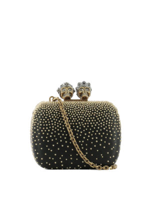 Alexander Mcqueen: clutches - Nappa box clutch with gold studs