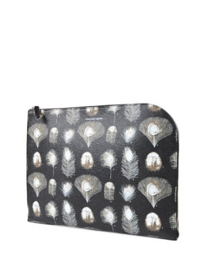 Alexander Mcqueen: clutches online - Feather print leather clutch