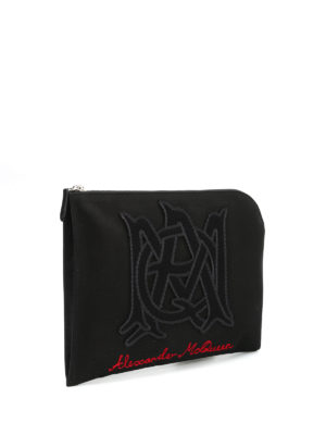 Alexander Mcqueen: clutches online - Half zip embroidered pouch