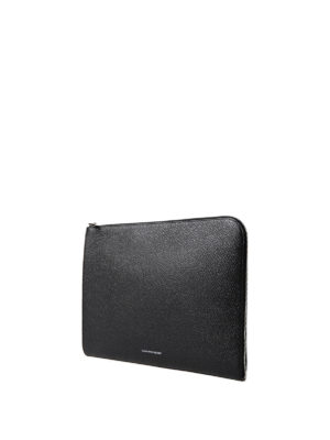 Alexander Mcqueen: clutches online - Half-zip hammered leather pouch