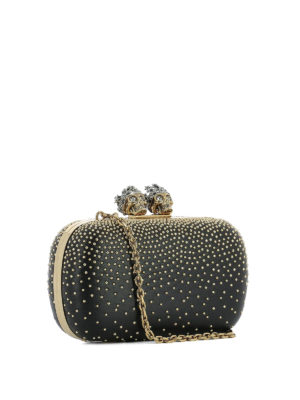 Alexander Mcqueen: clutches online - Leather clutch with gold-tone studs