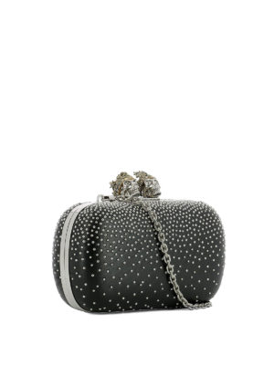 Alexander Mcqueen: clutches online - Leather clutch with silver studs